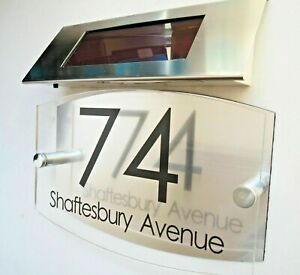 MODERN SOLAR LIGHT House Signs Plaques Door Numbers 1 - 9999 street Name LED