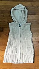Girls Size S Ivory Sweater Zipped Hooded Vest, Old Navy FREE SHIP