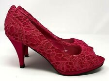 Ladies Satin Embroidered Lace Shoes UK 5 Hot Pink Open Toe Occasion Stiletto