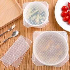 4PC Set Reusable Silicone Wrap Seal Vacuum Food Fresh Wrap Kitchen Gadget Q@~