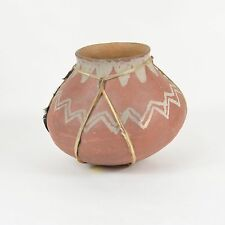 Vtg Primitive TARAHUMARA Native American POTTERY Bowl Vessel Olla SINEW HIDE
