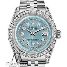 Ladies Diamond Rolex Datejust 31mm SS Ice Blue Color String Diamond Dial Watch