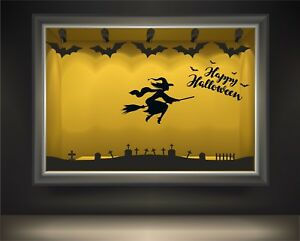 Halloween Window display wall & window stickers, bats, cats, witches, pumpkins