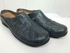 Array Mules Size 11M Blue Leather Slide-On Shoes Womens Woven Emma