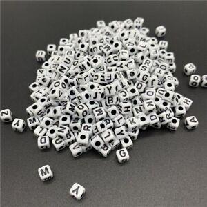 100pcs 5x5mm A - Z Single Letter Beads Alphabet Acrylic White Square Shape
