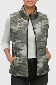 Womens Medium-long Style Printing Padded Cotton Blend Camouflage Chic Vest T617