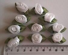 RIBBON ROSES x 10  Satin Large - Craft Wedding Baby Bunting Sew - White