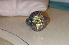 Effy D'oro 14k Yellow Gold-Sterling silver checkerboard bezel Lemon Quartz Ring