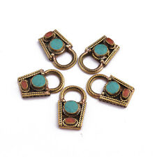 Turquoise Coral Brass 5 Necklace Spacers Tibetan Nepalese Handmade Nepal NK389