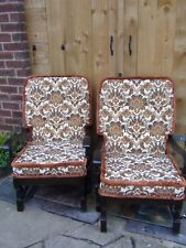 Retro Vintage Oak Cocktail Easy Chair Lounge Armchair 50s 60s 70s (2 chairs)