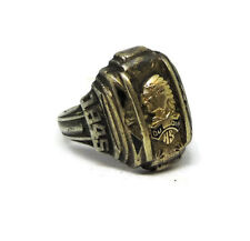 ANTIQUE 1845 OLD DE QUOIN HIGH SCHOOL CLASS RING INDIAN HEAD GOLD SILVER SZ 8.5