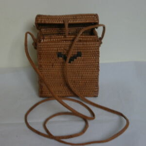 """Beautiful Vintage Indonesian vowed straw handbag in brown Colour 5""""12X4""""12 X2"""""""