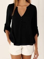 Fashion Women Ladies Long Sleeve V Neck Blouse Casual Summer Shirt Loose Tops