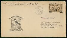 Mayfairstamps Canada Flight 1935 Kenora to Cole Kingfisher Bird Cover wwh_04069