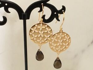 18K Gold on Sterling Silver Circle Disc Earrings Gemstone Smokey Quartz Teardrop