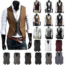 Mens Formal Business Slim Fit Tuxedo Vest Wedding Dress Waistcoat Coat Suit Tops