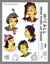 Vintage McCall Millinery Hat  BERET Fabric Material Sewing Pattern  #1463