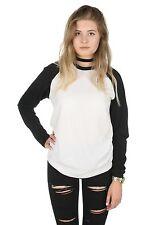Plain Raglan Tee T-shirt Top Long Sleeve Grunge Basic Baseball Tumblr American
