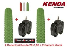 "2 Copertoni KENDA 20x1,95 K-RAD Verde + 2 Camera per Bici 20"" MTB Mountain Bike"