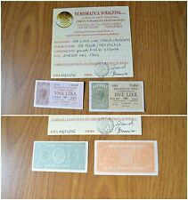ITALY LOT OF 2 BANKNOTES 1 LIRA 2 LIRE LAUREATA 1944 certificate almost UNC qFDS