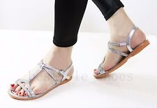 LADIES FLAT SUMMER DIAMANTE BUCKLE STRAPPY HOILDAY BEACH DRESSY SANDALS SIZE