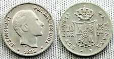 VARIANTE ALFONSO XII 10 CENTAVOS 1883 MANILA SOBREFECHA CLARA 3 SOBRE 2 MUY RARA
