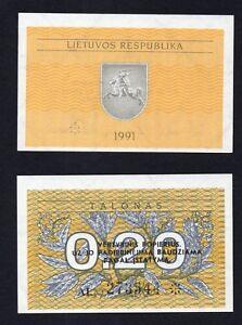 Lituania 0,20 talonas 1991 FDS/UNC  B-02