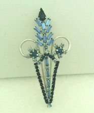 """SF. Vintage """"Jay Flex"""" Sterling Silver Brooch with Blue Crystal signed"""