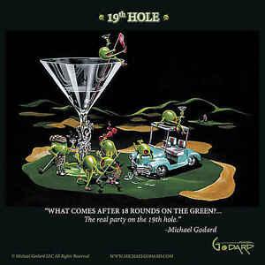 Michael Godard 19th Hole Sport Golf Cocktail Funny Fantasy Print Poster 12x12