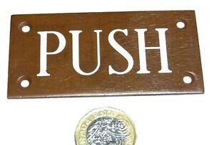 SINGLE ANTIQUE BRONZE/COPPER ALLOY & PORCELAIN ENAMEL DOOR PUSH PLATE PUB SHOP..