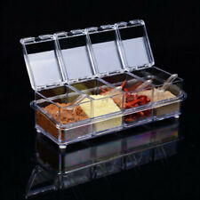 Transparent Spice Container Jar Condiment Dispenser Salt Seasoning Box Kitchen