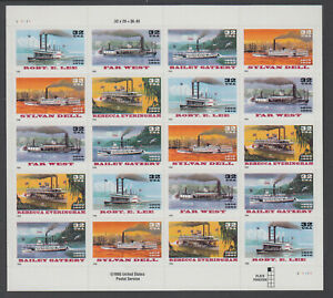 US #3091 - 3095 Riverboats 32c Complete Sheet of 20 Mint Never Hinged