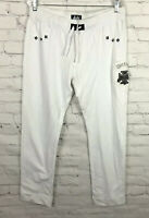 NWT Pepe Jeans London Sweat Pants Joggers White Distressed Trim Spell Out 2XL