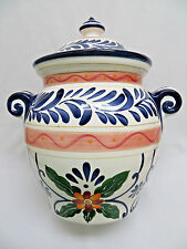 "Talavera Hand Painted Pottery Ginger Jar w/ Lid 12""  wm"