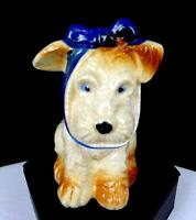 """OCCUPIED JAPAN PORCELAIN MUGGSY TOOTHACHE DOG BLUE BOW 3 1/2"""" FIGURINE 1945-"""