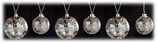 LED Lighted Mercury Glass Christmas Ball Ornaments w/ 6 hr Timer Set/6 NEW X460