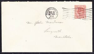 Canada 1954 4c Geo V1 Letter  Pa Prairie to Manitoba Torn Top Right