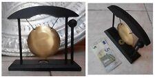 Gong in metallo dorato moneta base legno con martelletto artigianato orientale