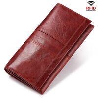 RFID Genuine Leather Womens Fashion Clutch Wallet Female Coin Purse Phone Holder