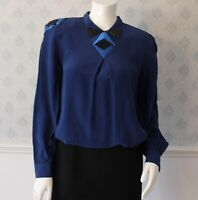 Vintage 1980s Oleg Cassini Royal Blue Silk Sequin and Beaded Long Sleeve Blouse