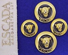 4 ESCADA ENAMELED PANTHER DESIGN REPLACEMENT BUTTONS EXCELLENT CONDITION $49.95