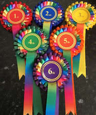 RAINBOW 1st-6th 2 tier Rosettes in quality single faced satin, 68mm Centres