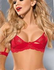 $69 EXCITE ME Red Quarter Cup BOUDOIR Shelf Bra 12B/34B Lace Covers Nipple