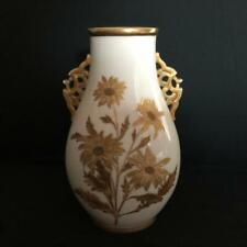 VINTAGE / ANTIQUE GRAINGER  / ROYAL WORCESTER TWIN HANDLED CREAM AND GILT VASE