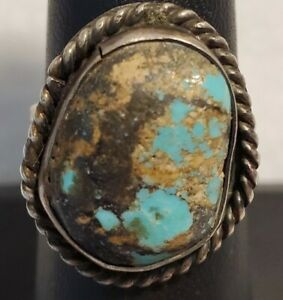 Vintage Native American (Navajo) Sterling Silver Turquoise Ring Size 7.5