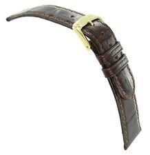 19mm Speidel Wild Croco Grain Brown Genuine Leather Padded Watch Band Strap