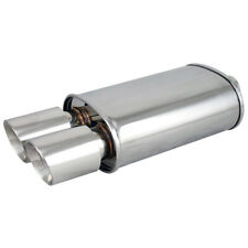 Polished Spun-locked Exhaust Oval Muffler Double Wall Dual Slant Tip for Ford