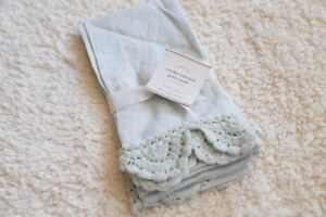 pottery barn crochet trimmed guest towel new set of 2 rare item