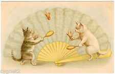 Postcard Cats Playing Badminton By Fan Signed A.F. Lydon