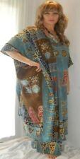 blue tunic top set pants wide leg scarf M L XL 1X zp104